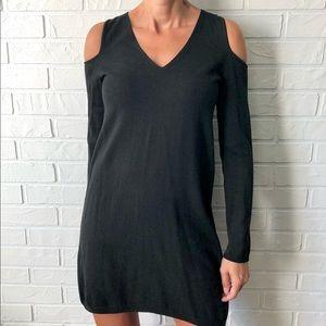 H Halston black fine knit cold shoulder dress S